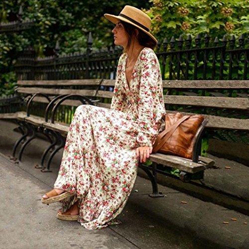 Winwintom mujeres retro Print floral V - cuello de manga larga vestido de fiesta vestido de noche vestido