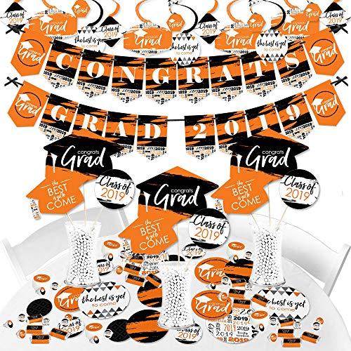 Black And Orange Decorating Kit - Big Dot of Happiness Orange Grad