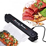 Vacuum Sealer Automatic Compact Vacuum Air Sealing Machine System for Vaccum and Seal Home Kitchen Food Cooking Packing Preservation and Storage Saver with 15pcs Free Sealer Bags -Black