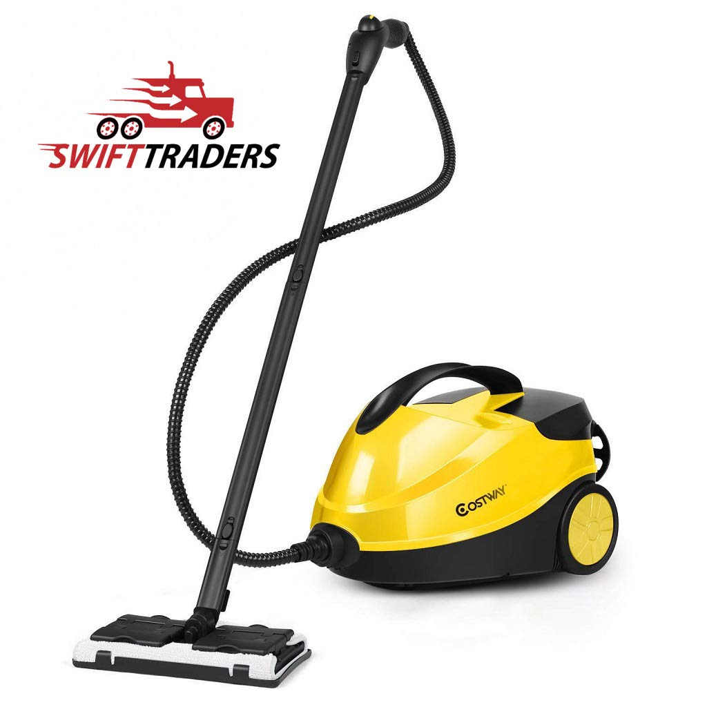 SWIFT ✅ TRADERS Heavy Duty Multi-Purpose Steam Cleaner 2000W Dual Tank System Quick Heat 1 min - Black/Yellow - Comes with A Free Washcloth!