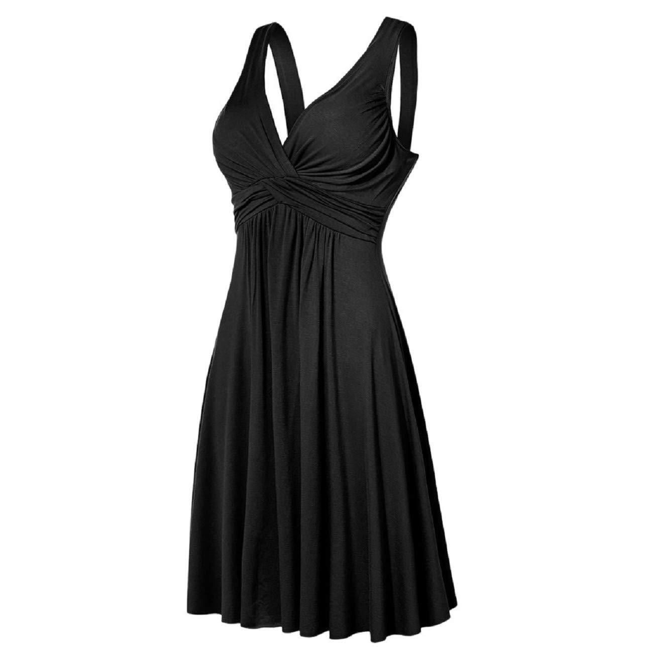 FAPIZI Women Plus Size Dress Vintage V-Neck Sling Leated Slim Flare Skirt Dress Casual Cocktail Skater Mini Short Dress