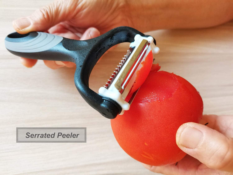 YUSENONA 3-in-1 Multipurpose Peelers for Kitchen ,Premium Stainless Steel Peelers for Veggie,Carrot,Fruit. Potato Peelers,Veggie Peeler /& Fruit peeler Y Peeler,Serrated Peeler/&Julienne Peeler