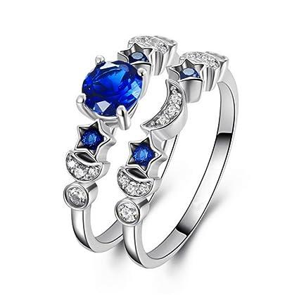 f9d8483c33dc TREESTAR 2pcs Couple Star Moon Eternity Diamond Ring Men Women Love Romance  Blue Crystal Ring Girlfriend