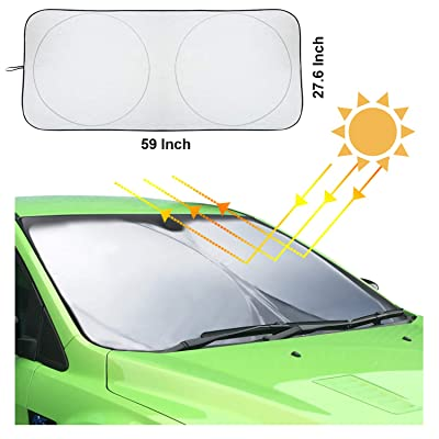 Hantun Windshield Sun Shade, 59 x 27.6 Inches 210T Reflective Polyester Foldable Windshield Sunshade for Car/Vehicle, Blocks Heat and Sun, Standard Size: Automotive