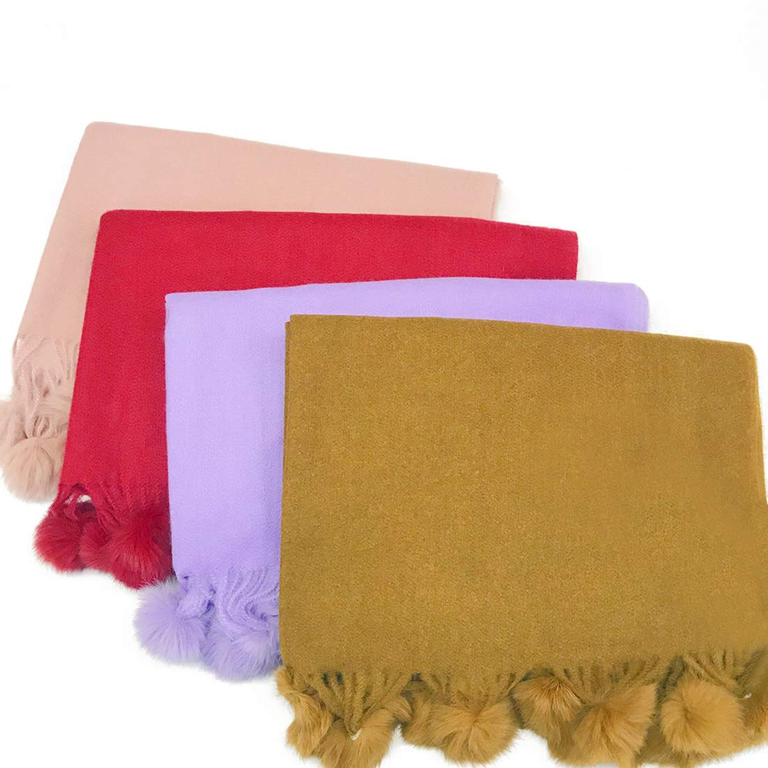 2019 girl/'s autumn winter rabbit hair ball scarf female fresh cashmere warm gift pure colored scarf