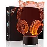 猫耳ヘッドホン3dランプOptical Illusionナイトライト、Gawell 7色変更タッチスイッチテーブルデスクデコレーションランプ完璧なクリスマスギフトアクリルフラット& ABSベース& USBケーブルクリエイティブおもちゃ