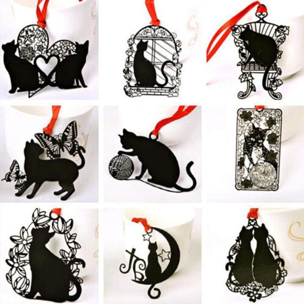 PULABO 2 unids lindo papelería hueco metal marcapáginas negro gato titular regalo estudiante estilo aleatorio creativo y útil