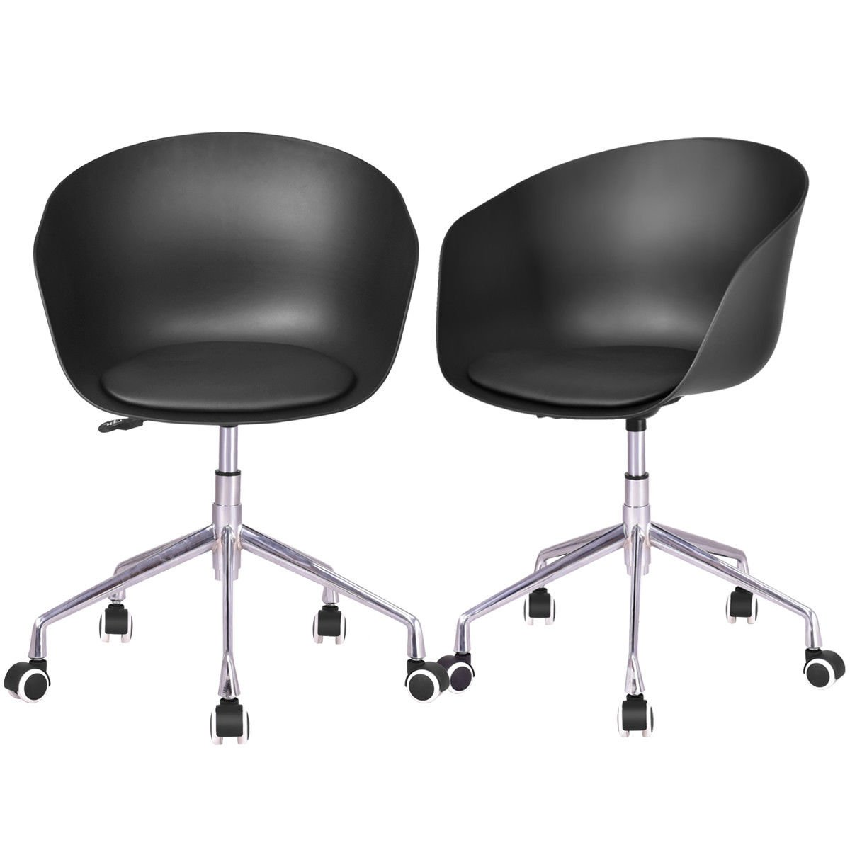 KCHEX>>Set of 2 Desk Chair PP Swivel Height Adjustable Rolling Home Office TasThis is Our Brand New Adjustable PP Chair with PU and Sponge seat That is Sold in one Set