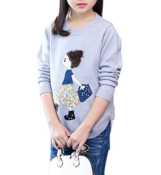 803cb9bd3 Amazon.com  C H Girl Pullover Simple Cute Jumper Cartoon Knitted ...