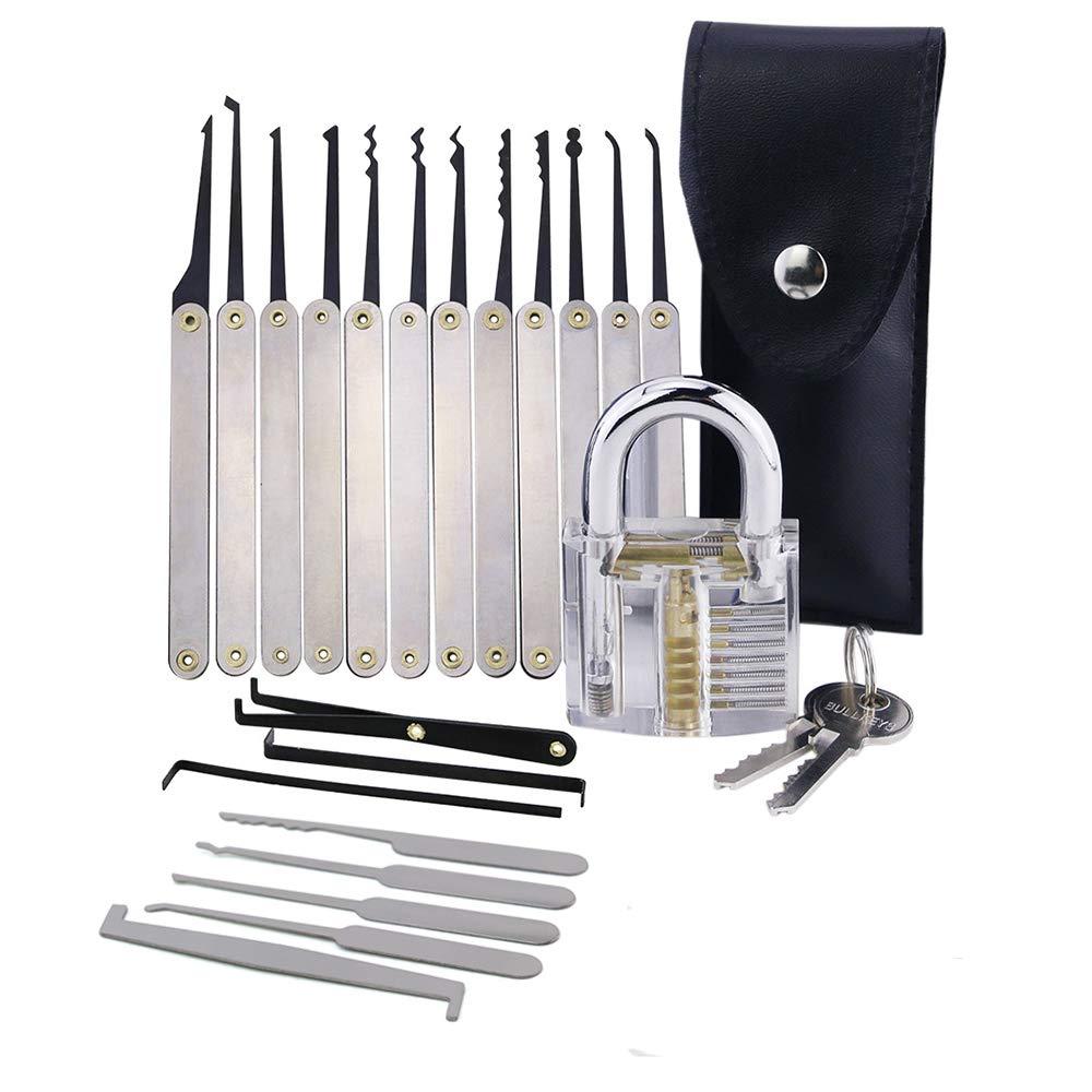 Kreditkarten-Verschluss-Auswahl-Werkzeug-Kit und transparentes Trainings-Vorh/ängeschloss und Pro-Schlosser Lockmall 20-teiliges Verschluss-Auswahl-Set
