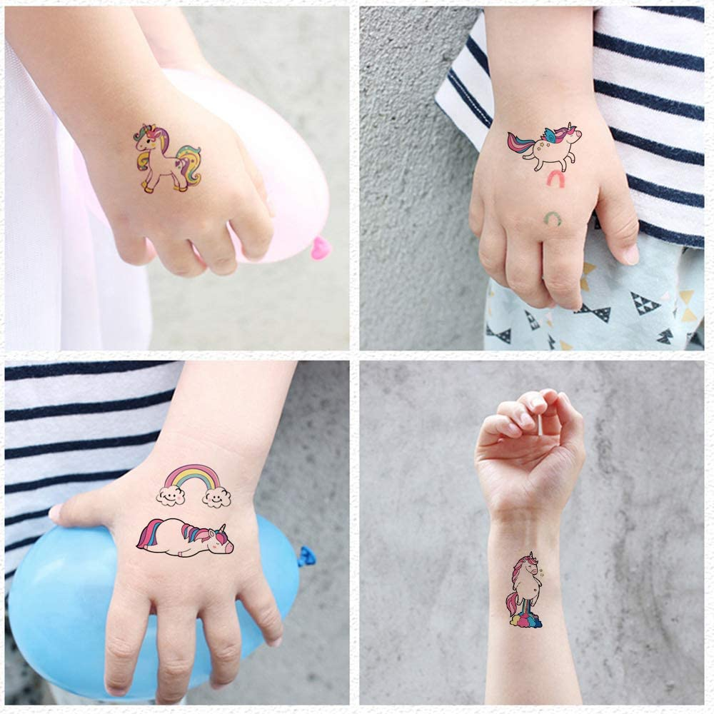 VCOSTORE Tatuajes temporales de unicornio para niños, pegatina de ...