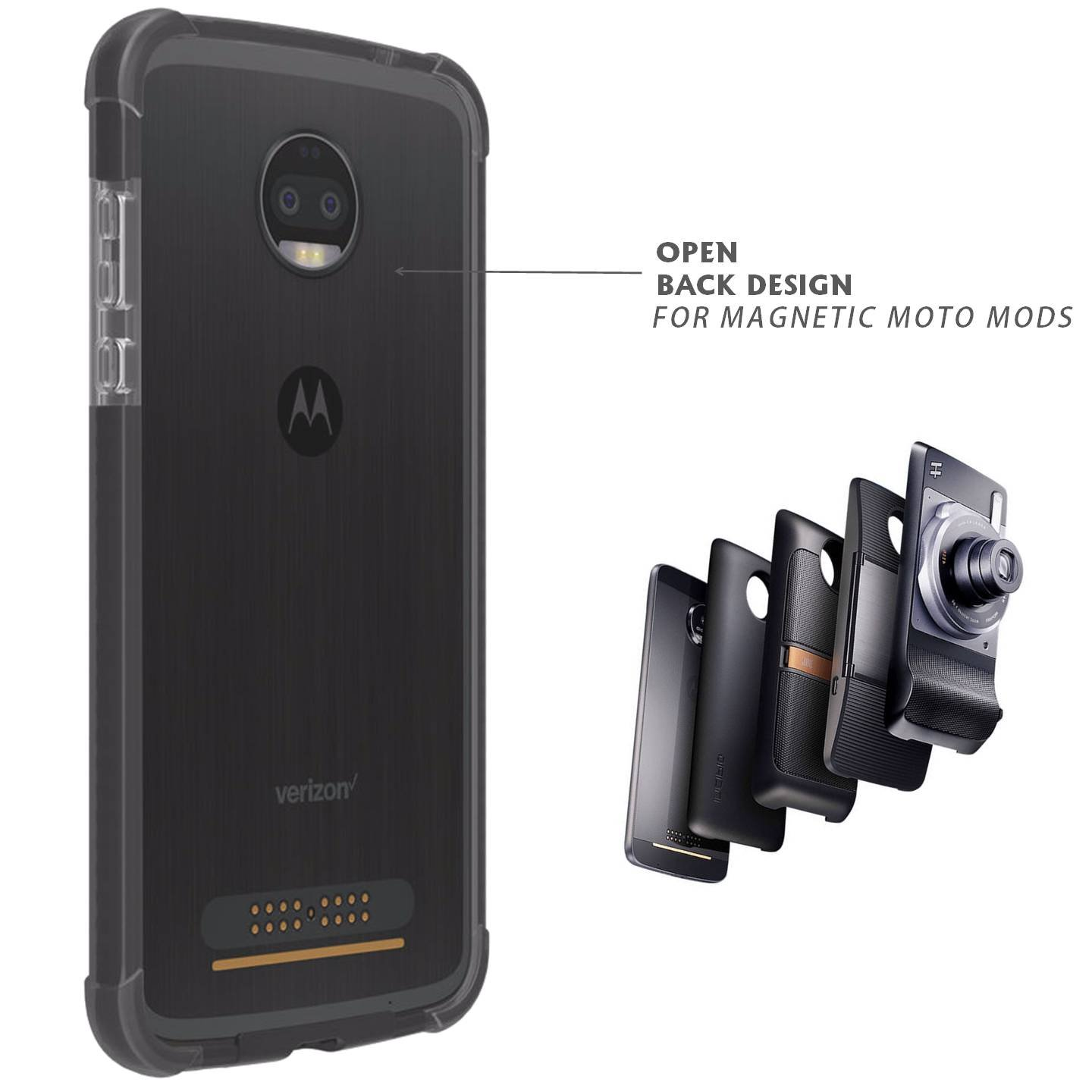 best website 7ae97 8f315 Details about Ademite Moto Z2 Force Case Bumper Black Clear Compatible Moto  Mods