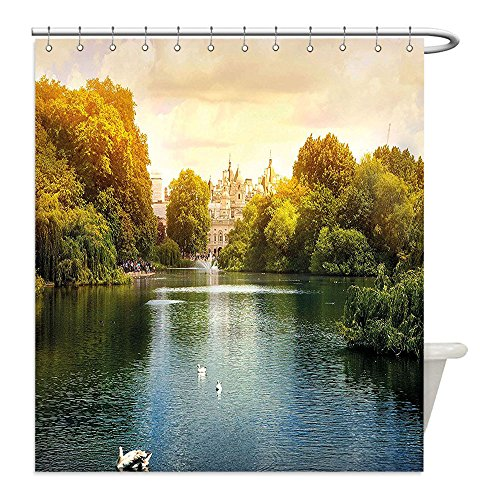 Swan Lake Costume Diy (Liguo88 Custom Waterproof Bathroom Shower Curtain Polyester Nature Sunset at National Park London Lake with Swans and Tree Picture Olive Green Light Caramel Cream Decorative bathroom)