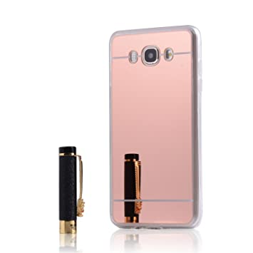 LXHGrowH Funda Samsung Galaxy J7 (2016), [Ultra Delgada] Carcasa con Espejo para Samsung Galaxy J7 (2016) J710FN Cover Silicona TPU Protectora Rosado ...