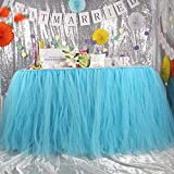 Tutu Table Skirt Tulle Table Cover for Baby Shower High Chair Birthday Party Wedding Cake Table Christmas Decorations Blue, Pack of 1