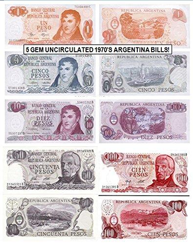 AR 1970 SET OF 5 LOVELY LG ARGENTINA BANKNOTES w PORTRAITS/FAMOUS SITES & SCENES Gem Crisp Uncirculated