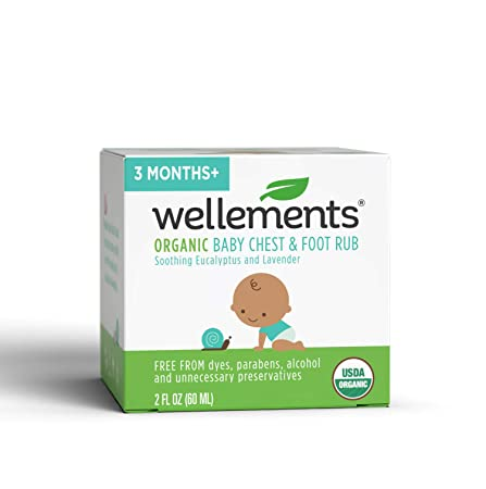 Wellements Organic Baby Chest & Foot Rub, 2 Fl Oz, Eucalyptus And Lavender, Free From Dyes, Parabens, Alcohol, Preservatives by Wellements
