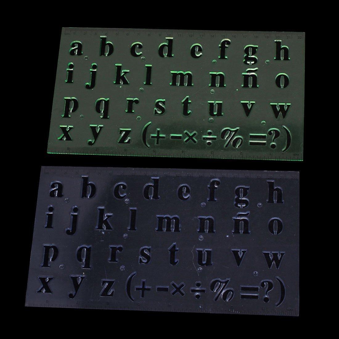 Amazon.com : eDealMax hueco plástico fuera del diseño de letras de medición Dibujo Regla, 2 Piezas (a15082800ux0586) : Office Products