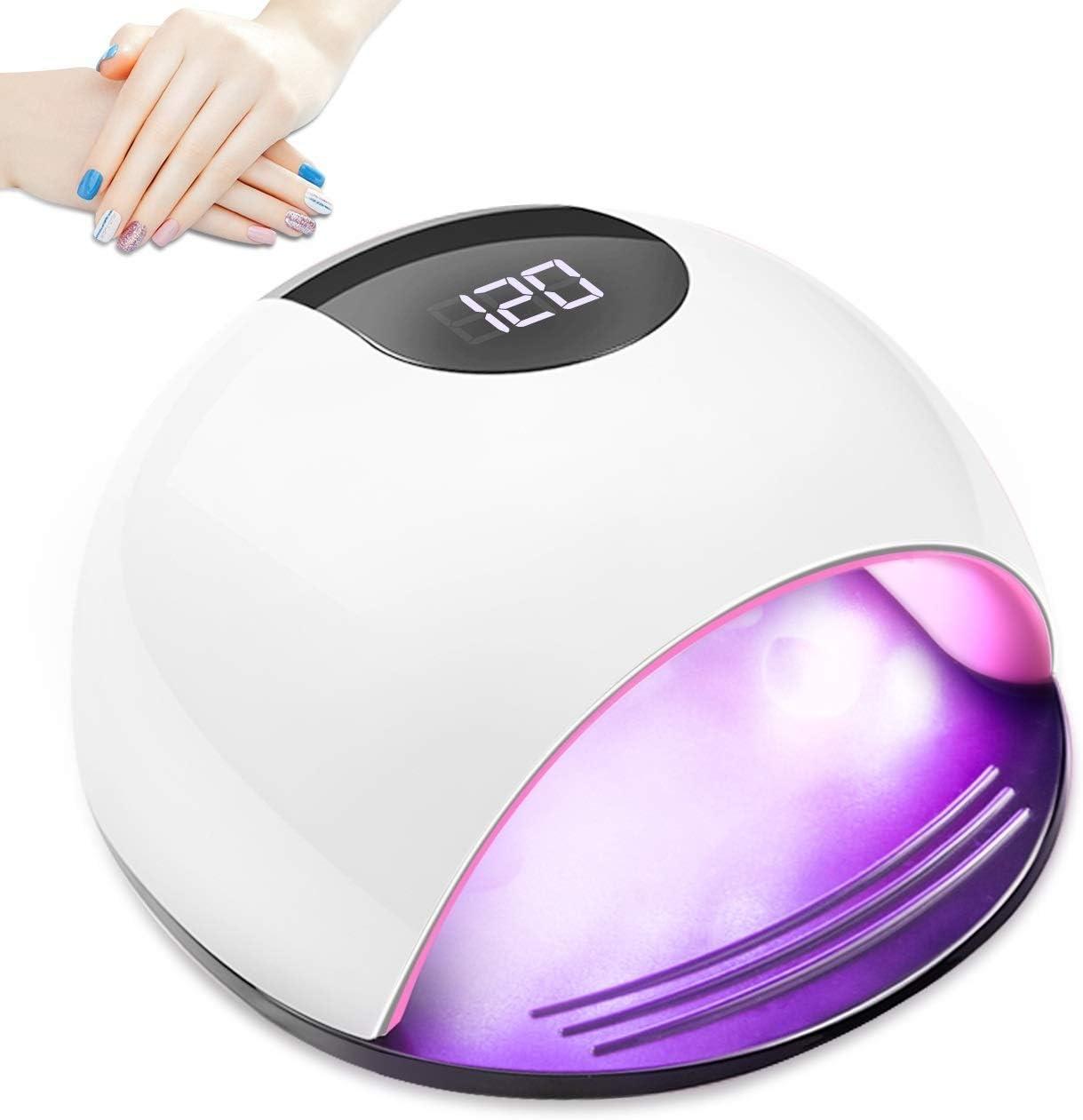 72W Lámpara LED UV Uñas, Aiemok Profesional Lámpara Secador de Uñas, Lampara led uñas de uñas Lámpara de Curado con 4 Temporizadores(10s/30s/60s/120 s), Sensor Automático y Pantalla LCD