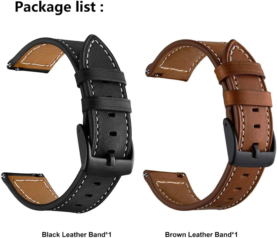 LDFAS Leather Band Compatible for Samsung Galaxy Watch 42mm Bands, Genuine Leather Quick Release 20mm Watch Strap Compatible for Samsung Galaxy Watch ...