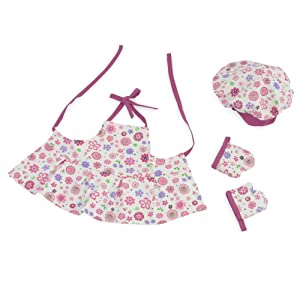 """Fits 18"""" American Girl Dolls   Pink Floral Baking Outfit with Apron, Oven Mittens and Chef Hat   18 Inch Doll Clothes   Gift-boxed!"""