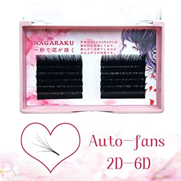 ac6684ce48c NAGARAKU Eyelash Extensions Easy fan lash Russian eyelash Volume lashes  Auto fans 2D-6D Mixed Length In One Line Faux Mink Eyelash 0.03mm J-10-12-14  mix: ...