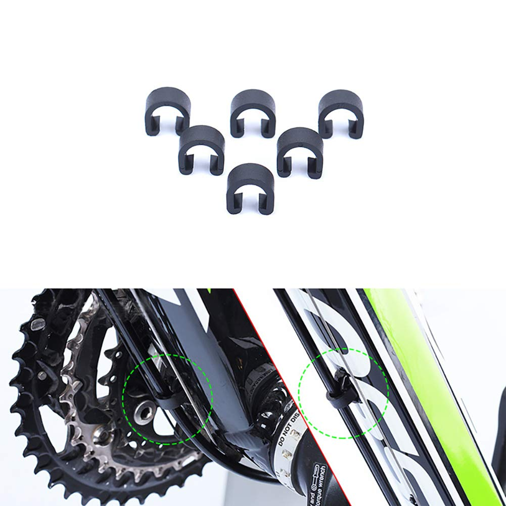 Road Bicycle Mountain Bike C Clips Housing Hose Guide Clamps for Brake Derailleur Shift Cables Luckycivia 30 PCS Black Bicycle C-Clips Clamps