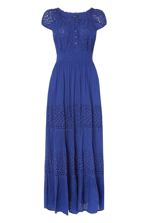 Roman Originals Kleider Damen Baumwoll Kleid mit Spitze ...