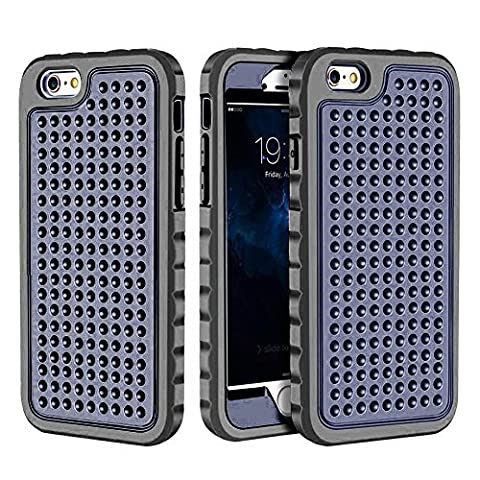 iPhone 6 Plus/6S Plus Case, Hybrid Heavy Duty Shockproof Full-Body Protective Case with Dual Layer [Hard PC+ Soft Silicone] Impact Protection for Apple iPhone 6S Plus 5.5 inch. (New Navy (Motorola Droid Mini Speck Case)