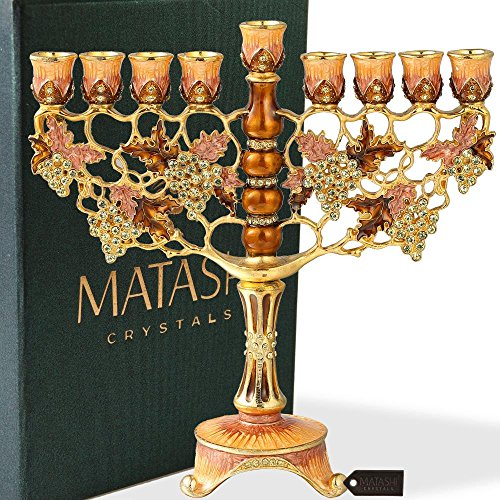 Matashi Hand Painted Enamel Menorah Candelabra Embellished with Gold Accents and Crystals by (Pewter Candelabra)