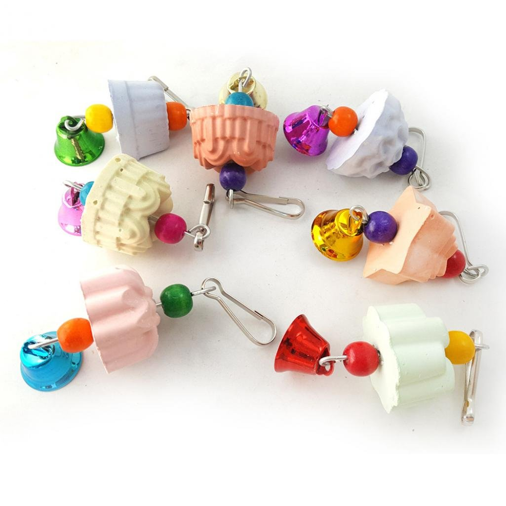 SoundsBeauty Pet Hamster Chinchilla Parrot Bird Rabbit Teeth Grinding Stone Chew Bell Toy - Random Color and Pattern