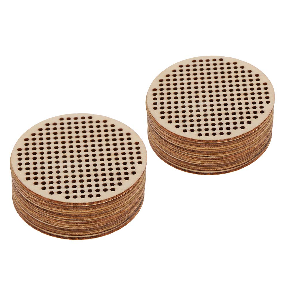 Fityle 20 Piece 63mm Round Wood Hole Paved Plaque Wooden Shapes Pendant Tags Ornaments DIY Cross Stitch Board for Handmade Toys Home Decoration
