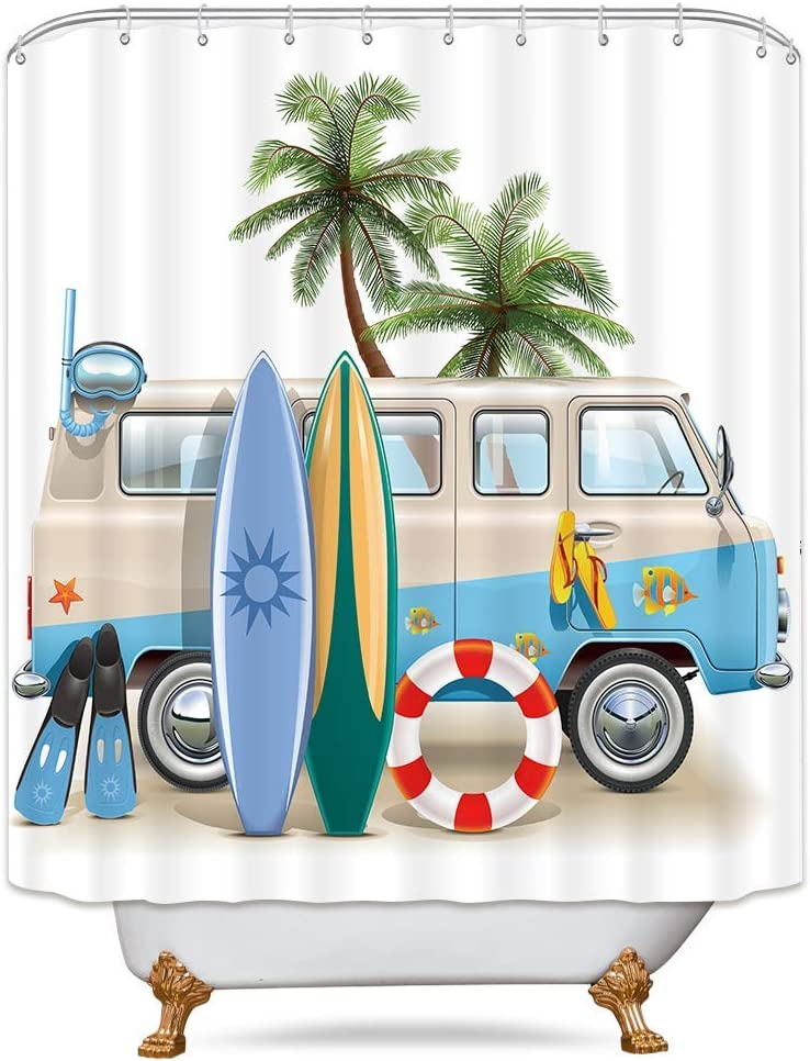 Riyidecor Vacation Coastal Shower Curtain Beach Camping Dining Sunlight Palm Trees Blue Car Decor Fabric Set Polyester Waterproof 72Wx72H Inch 12 Pack Plastic Hooks Included