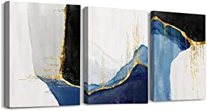 Black and white abstract Canvas Wall Art for Living Room Bedroom Decoration wall painting,Bathroom Wall Decor Home Decoration kitchen posters Blue Abstract Pictures Office artwork,16x12 inch 3 piece