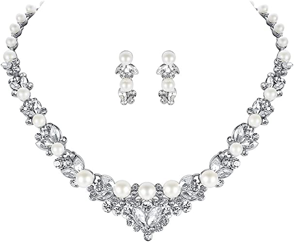 Amazon Com Mecresh Simulated Pearl Crystal Bridal Necklace