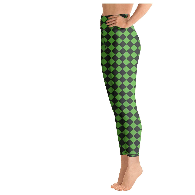 Cool Leggings for Women Buffalo Plaid Moose Green Pattern Training Womens Yoga Pants Dressy Legging