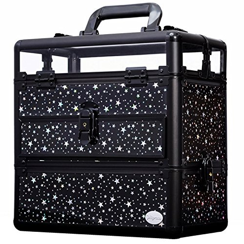 Makeup Train Case Professional Nail Box Portable Accessory Storage with Polish Slots by Joligrace (Box Nail Professional)