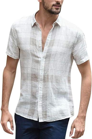 SoonerQuicker Camisa de Hombre T Shirt Botón Holgado de Lino de algodón de Lino a Cuadros de Manga Corta Camisas con Cuello caído Vintage Blusa tee: Amazon.es: Ropa y accesorios