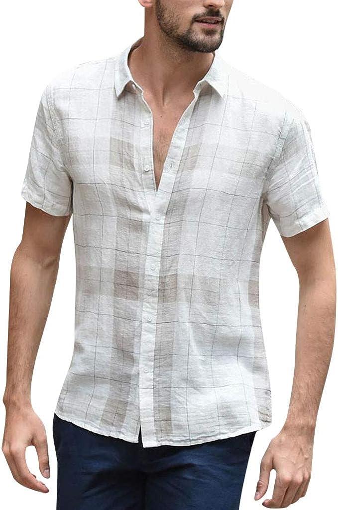 Camisa Hombre, Verano Algodón y Lino Manga Corta Color sólido ...
