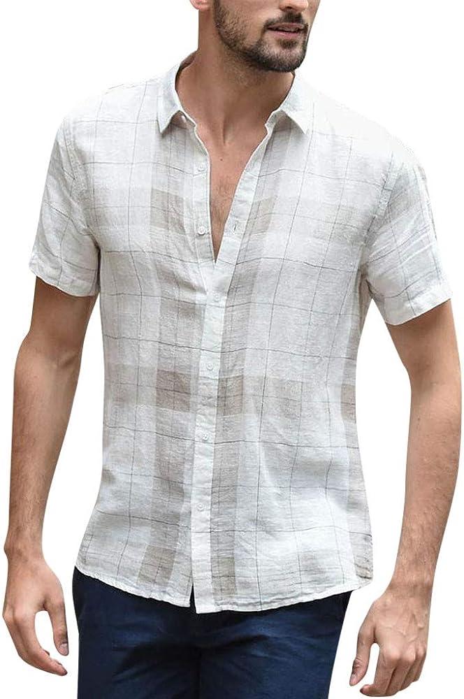 VRTUR Camisa De Hombre úNico Estilo Verano BotóN Holgado De Lino De AlgodóN De Lino A Cuadros De Manga Corta Camisas con Cuello CaíDo Retro, 2019 Nuevo: Amazon.es: Ropa y accesorios