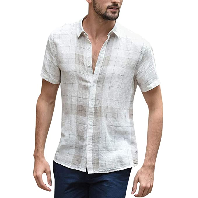Amazon.com: Camisas a cuadros de algodón para hombre, manga ...
