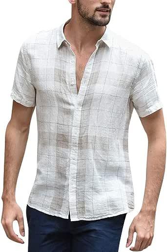 YGbuy-Camisa de Manga Corta Blanca clásica de algodón de Solapa con Botones de Tela Escocesa para Hombres Comodidad Informal: Amazon.es: Ropa y accesorios