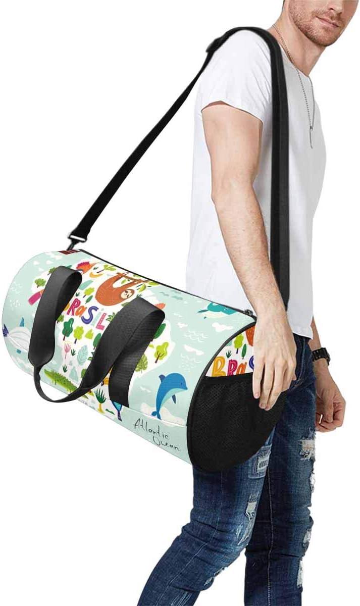 Sports Lightweight Luggage Duffel INTERESTPRINT Map of Brazil Travel Duffle Bag