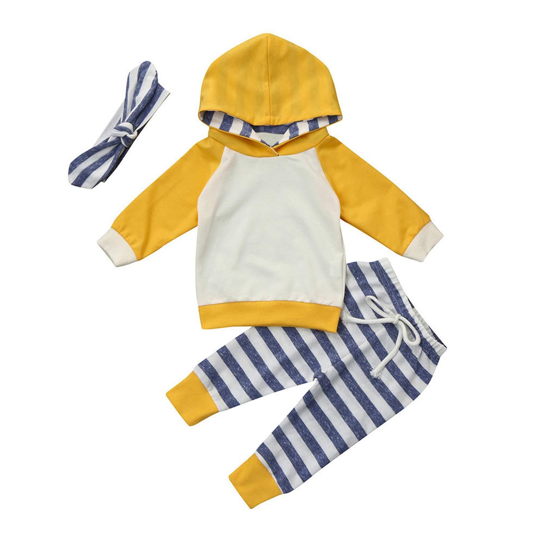 Angel ZYJ Ropa bebé, 3pcs Conjunto de Ropa para bebé Niñas Sudadera con Capucha Tops+ Pantalones + Diadema Conjunto de Trajes 0 Mes - 2 Años: Amazon.es: ...