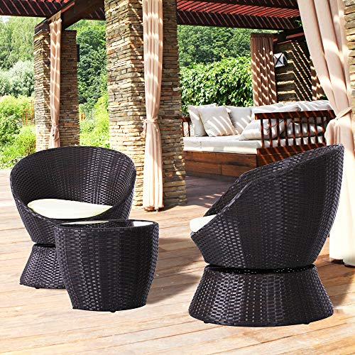 3 PCS Outdoor Swivel Bistro Conversation Lounge Chair Set with Tempered Glass Top Table Off White Cushion Patio Wicker Rattan Furniture for Coffee (Wicker Club White Chairs)