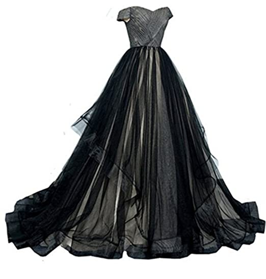 Kiss Rain Womens Black And White Tulle Corset Ball Gown Gothic Prom
