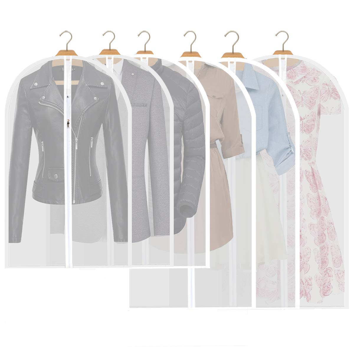 Garment Bag Clear Suit Dress Moth Proof Garment Bags Dust Cover White Breathable Bag with Full Zipper for Clothes Closet Storage Pack of 6 by homebags (Image #1)