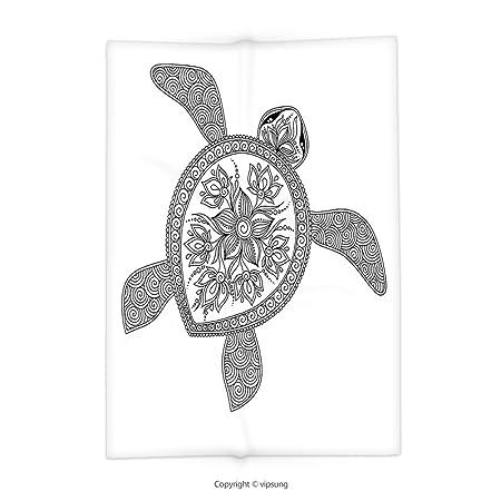 vipsung Manta con diseño de Tortuga artística de Henna Mehndi ...