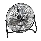 Deco Breeze High Velocity Floor Fan - Industrial Strength Fan - 3 Speeds - For Home, Work, Gyms, and Job Sites - Wall Mount Included (Black)
