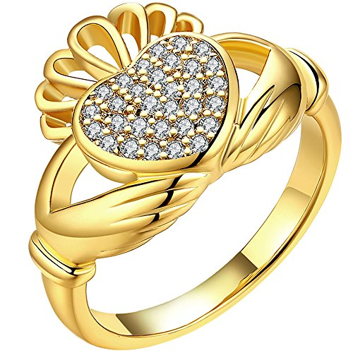 LWLH Jewelry Womens 18K Yellow Gold Plated Hands Holding Heart Cubic Zirconia CZ Crown Tiara Ring Band Szie 7